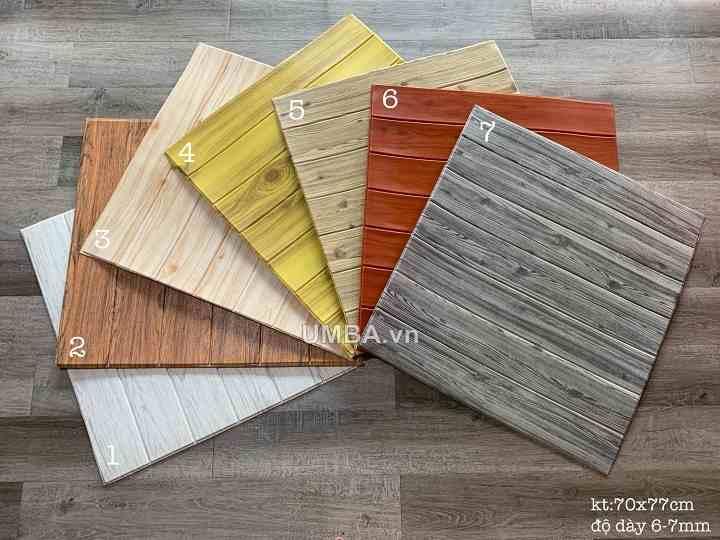 mẫu xốp 3d giả vân gỗ dán tường mầu sắc đa dạng